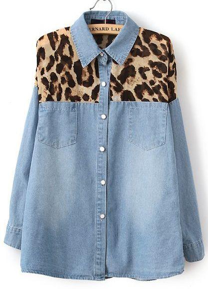 Chemisier en jean blanchi à motif léopard -bleu Jaune  13.80