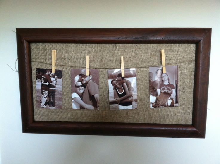 Burlap and clothes pin frame. Easy to change out photos.