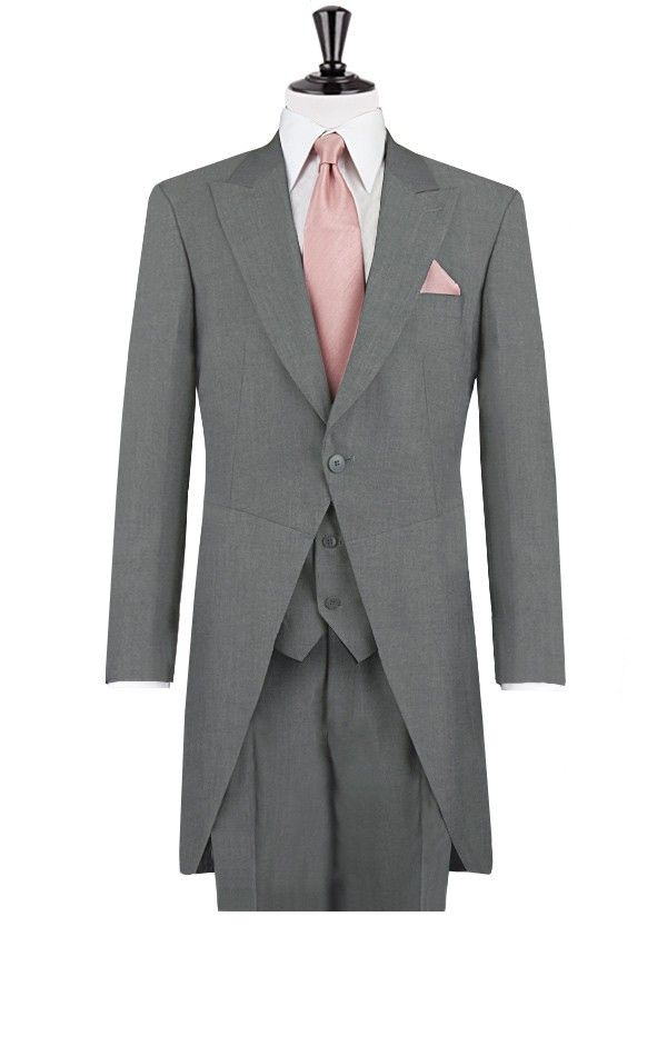 2014 New Custom made Grey morning coat wedding suits for mens 4 pieces suits (jacket+Pants+vest+tie)CM7284 $259.00