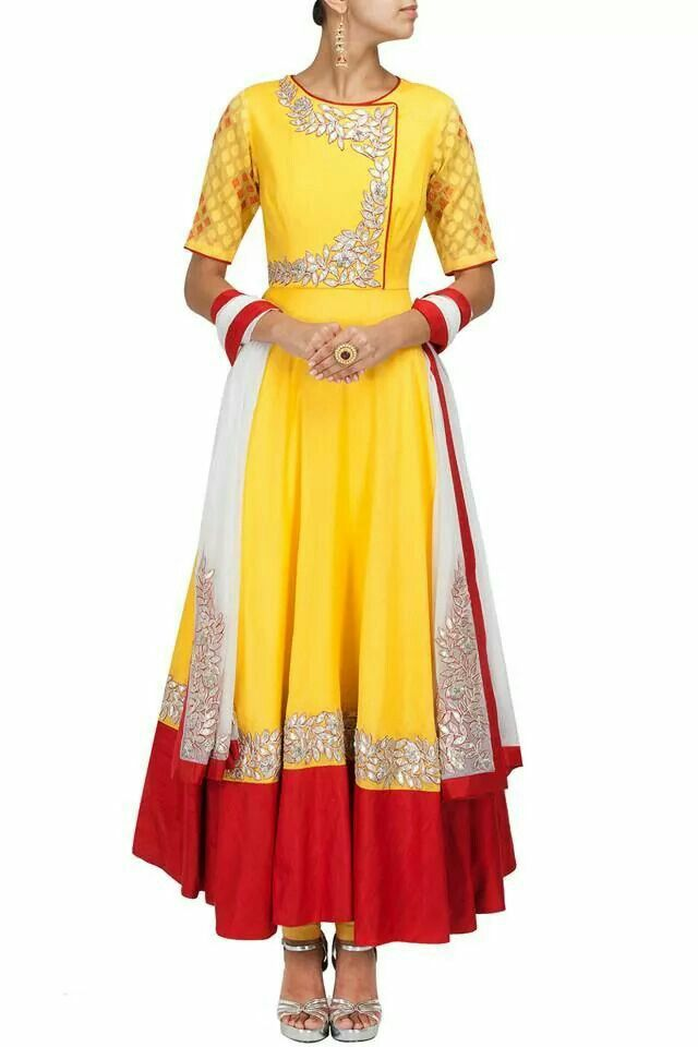 Yellow and red with gota patti work. Structured and tailored perfectly to your body shape. Look can be recreated by Shefali Couture Shefu_patel@hotmail.com