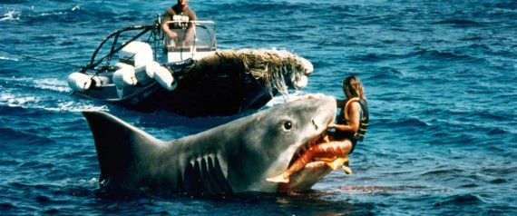 "5 Things You Never Knew About Jaws - The 25-foot killer shark that terrorized screen audiences was simply called ""Bruce"" on set. Named after Spielberg's lawyer, the mechanical shark was a complete disaster, sinking on it's first voyage into the waters. The crew reportedly also referred to it as ""flaws"" or ""the great white turd"" from then on."