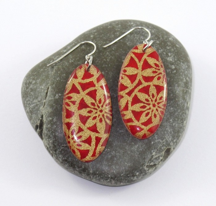 Japanese Design Red Large Oval Resin Earrings - by ScrunchDesign on madeit