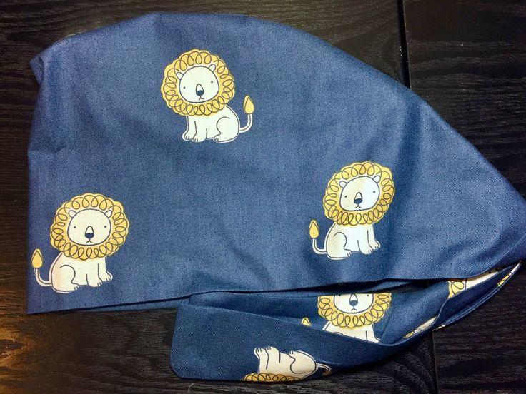 Little Yellow Lions on Dark Blue Surgical Scrub Hats, Women's Animal Organic Cotton Pixie Scrub Caps. Vet Scrub Hats, Custom Caps Company by CustomCapsCompany on Etsy