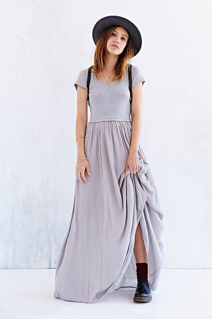 Ecote Tumbleweed Knit-Mix Maxi Dress at urban outfitters. Laidback maxi dress with a soft + stretchy ribbed knit top and scalloped lace trim along the deep scoop-back from boho label, Ecote. Finished with a full, crinkled gauze skirt in a long, flowing silhouette that slips over the head.