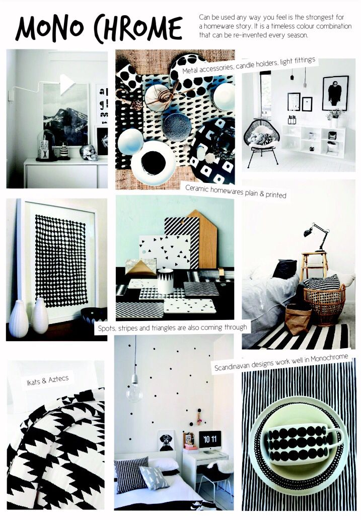 SS15 interior design. Homewares Monochrome