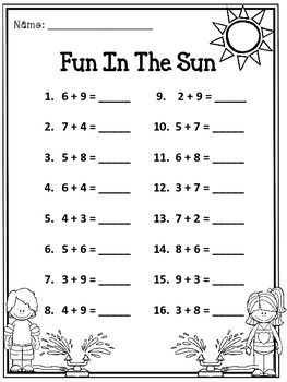 free summer addition practice - Fun Sheets For Students