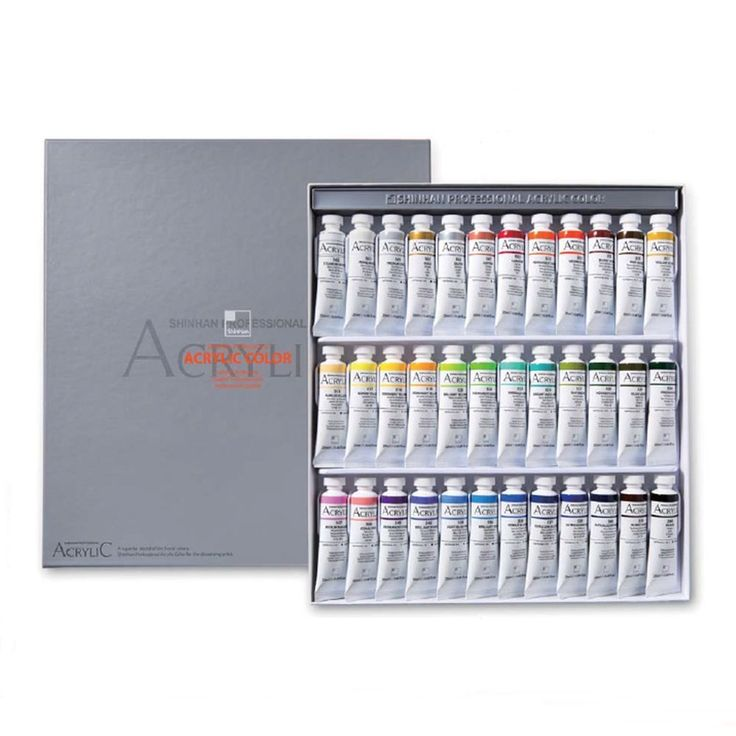 Acrylic Color Paint Set Shinhan Professional 36 Colors 20ml Tube, Artist Drawing #Shinhan