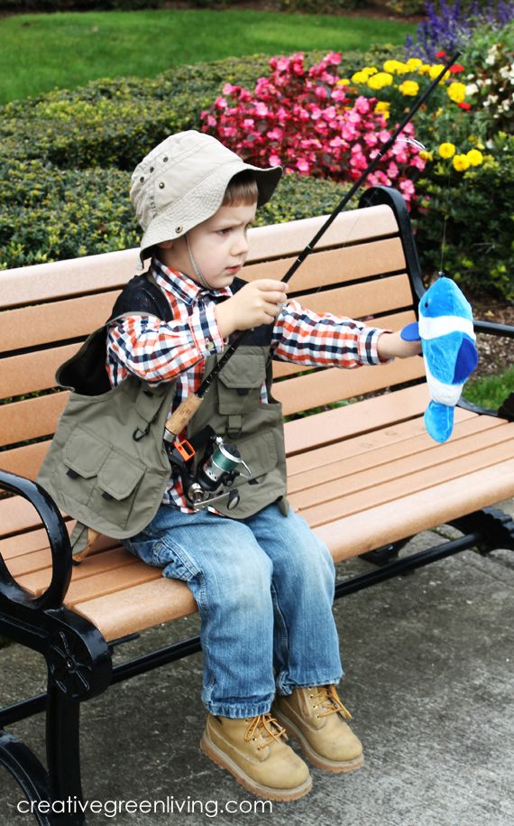 Need a quick, easy, inexpensive Halloween costume perfect for a little boy? Turn him into a fisherman using mostly items you have on hand and props made from thrift store and dollar store finds.