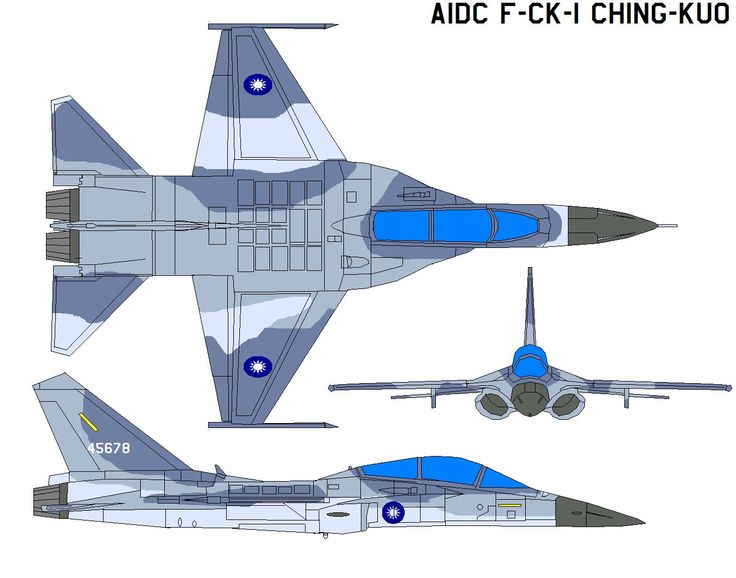 The Republic of China (Taiwan) Air Force's AIDC F-CK-1 Ching-kuo is a light fighter aircraft named after the late ROC (Taiwan) President Chiang Ching-kuo. It entered active service in 1994, an...