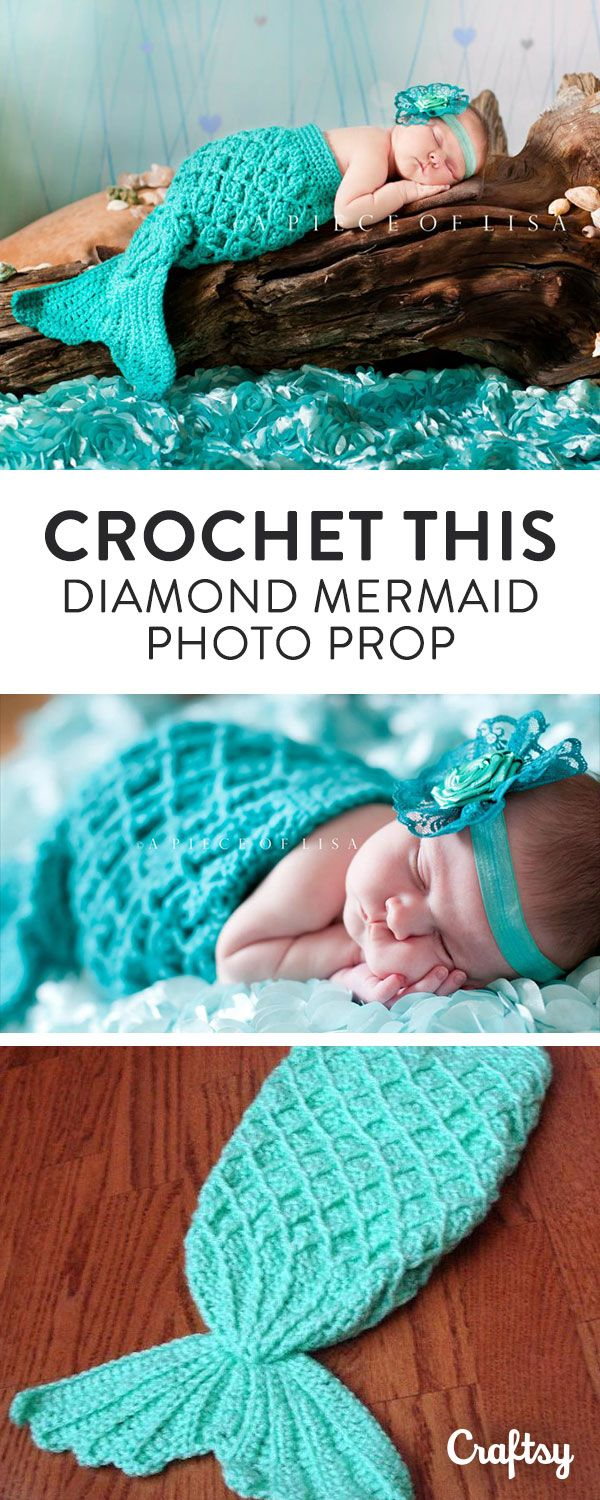 Make your baby photos even more adorable with this crochet mermaid tail prop.