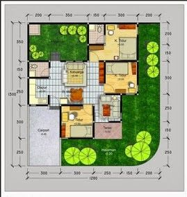 Gambar Denah Rumah Minimalis Modern Type 70 House Plan House