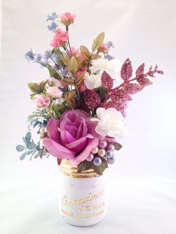 Vintage 'Canadian Jewel' jar with custom floral by OctoberandJuly, $35.00