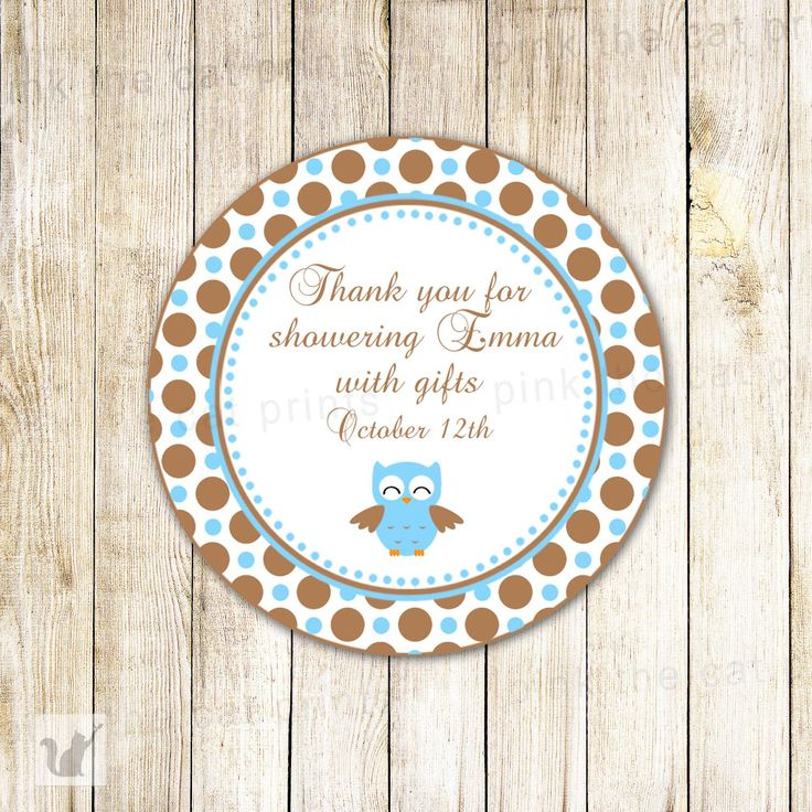 Owl Label Blue Brown Baby Boy Shower Birthday Tag Sticker – Pink The Cat