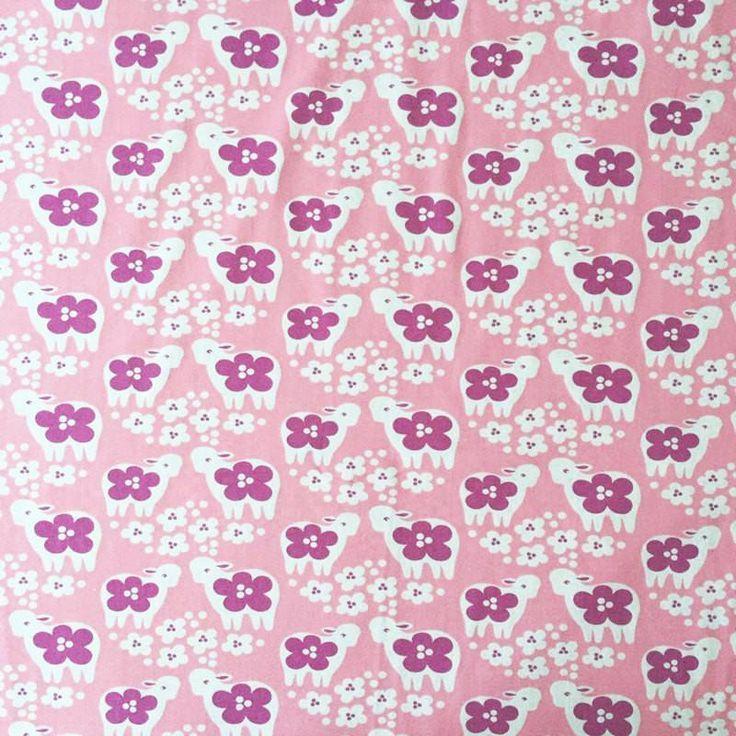 HALF Yard Paapii Design Lambs on Pink Organic Cotton Spandex Knit Jersey Fabric