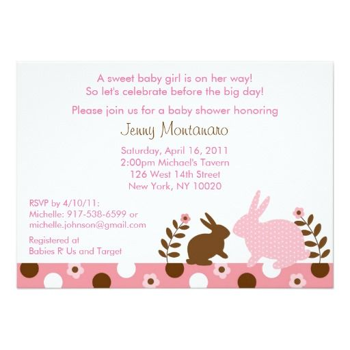 Sweet Baby Bunny Pink Baby Shower Invitations