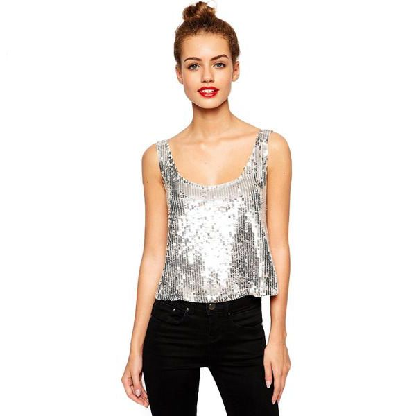 Silver Sequin Backless Tank