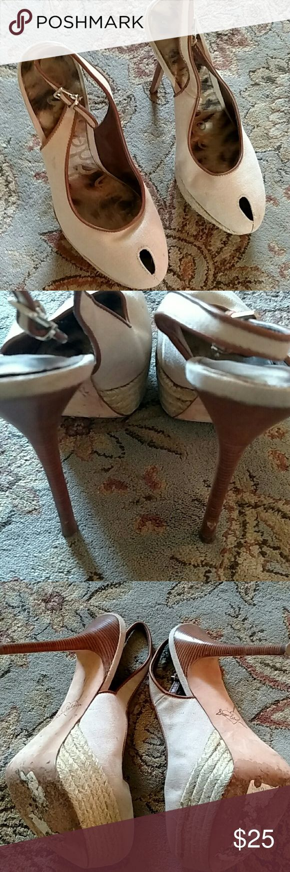 Sam Edelman heels Worn twice. Small flaw in right heel (see pic) Shoes Heels
