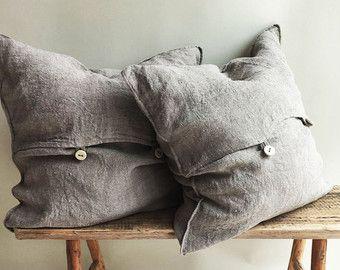 Rustic Throw Pillow Covers, Throw Pillow Covers 18 x 18 Rustic linen shams Natural Raw linen sham covers Linen decorative Pillowcases Burlap