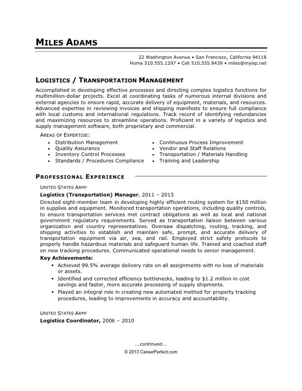 4219 best job resume format images on pinterest | job resume ... - Transportation Resume Examples