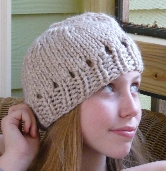 Girls Cream Knit Hat Cream Cap Girls Knit Hat Knit by lovemyknits