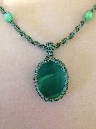Macrame wrap glass necklace, green