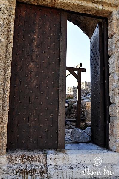Entrance of medieval castle in Kalymnos, Greece.