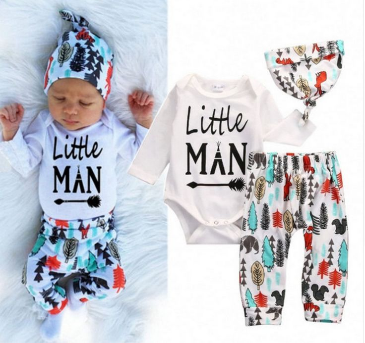 Baby Boy Little Man 3 Pc Set wilderness set - Shower Gift - Coming home outfit - Baby Hat