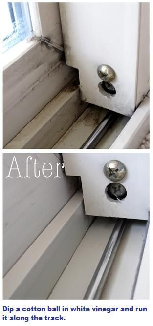 White vinegar will clean window / patio door tracks. ... One source says sprinkle baking soda on the tracks first. Then pour on a small amount of vinegar. ... Use cotton balls or Q-tips to wipe small areas your fingers can't reach.