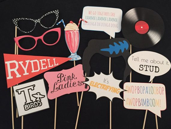 Grease Photo booth props. You get everything in the photo. These images are printed on card stock and attached to a wooden dowel. Ships in 3-5