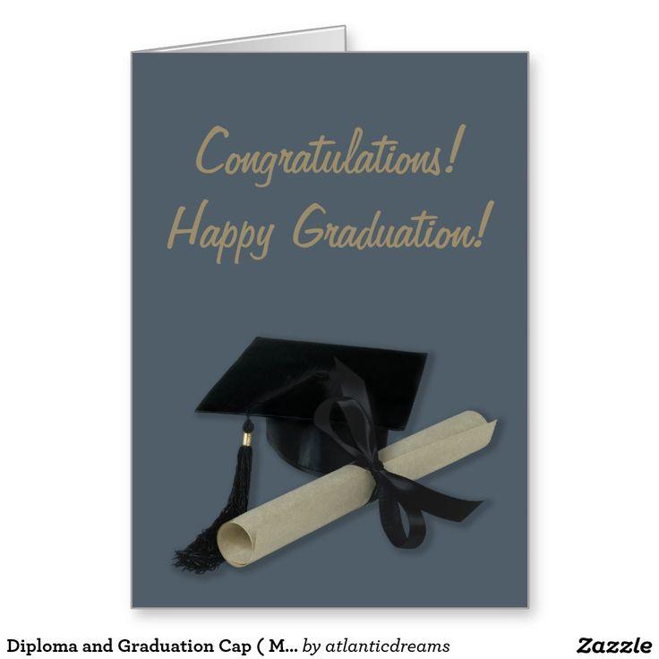 Diploma and Graduation Cap ( Mortar Board ) Stationery Note Card