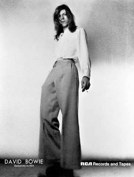 David Bowie promotes Hunky Dory in a pair of slacks that Katharine Hepburn would be proud of. Photograph: Michael Ochs Archives