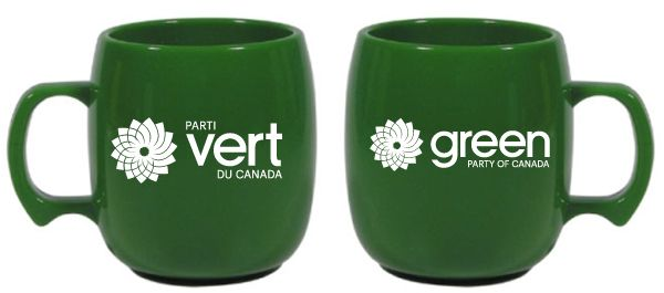 GPC cups - Holds 10.5 oz. of your favorite beverage in a cool Green mug. White GPC logo imprint on one side and white Parti Vert du Canada logo on the other side.  Biodegradable·Microwave safe.