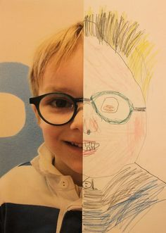 Half Self Portraits - what a wonderful idea! :) #art #kids #portraits