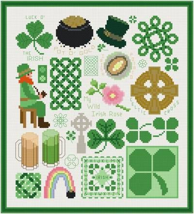 free printable St. Patrick's Day cross stitch patterns | cross stitch pattern Irish Images