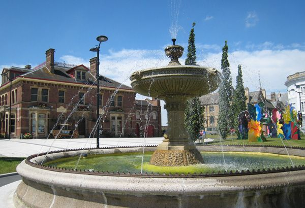 The Square, Barnstaple, north Devon, UK. In Springtime the square is ablaze with a riot of colour!