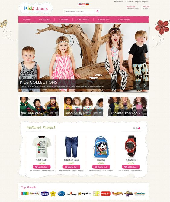 This Magento theme for kids features a responsive layout, easy customization, 4 layout options, product filtering by color, style, and price, speed optimization, a featured image slider, a product image zoom feature, and more.