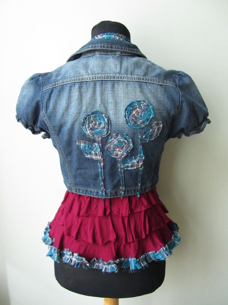 Upcycled Cropped Denim Jacket with Maroon Red Ruffle Tank Top, Short Sleeve Jean Jacket, Crop Top Set, Gypsy Soul, Country Chic Jacket by GarageCoutureClothes on Etsy