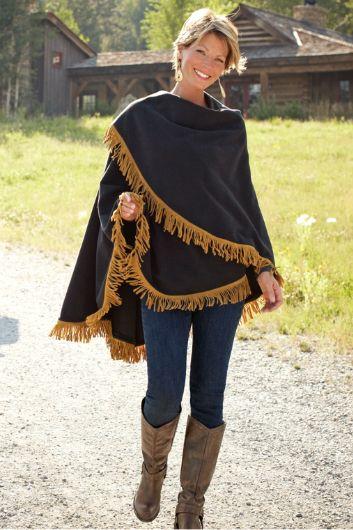 Fringe Trim Ruana - Womens Fleece Wrap, Black Ruana, Wrap Blanket | Soft Surroundings Outlet
