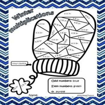 Winter mitten multiplications color by number | Multiplication, Winter ...