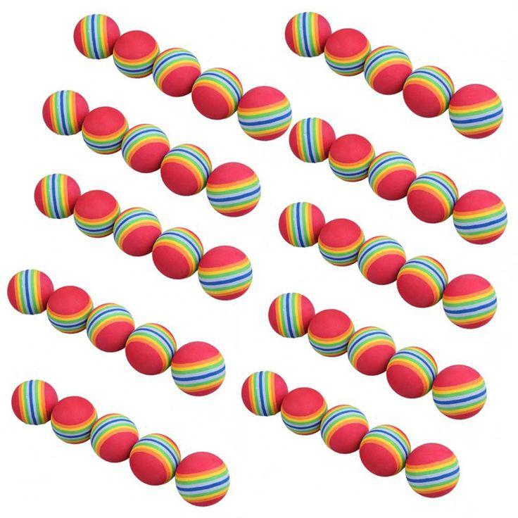 Il trasporto Libero 50 pz/borsa Arcobaleno dei Colori Palle Schiuma di Addestramento di Golf Swing Golf Indoor Training Aids Practice Spugna Foam Balls