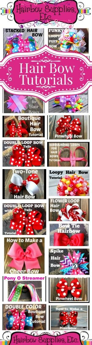 Over 50 FREE Hair Bow Tutorials – Hair Bow Instructions made easy by Hairbow Supplies, Etc.! Simple to follow DIY video instructions to make hair bows for your little girl! www.hairbowsuppliesetc.com by LynnaLoo Garcia
