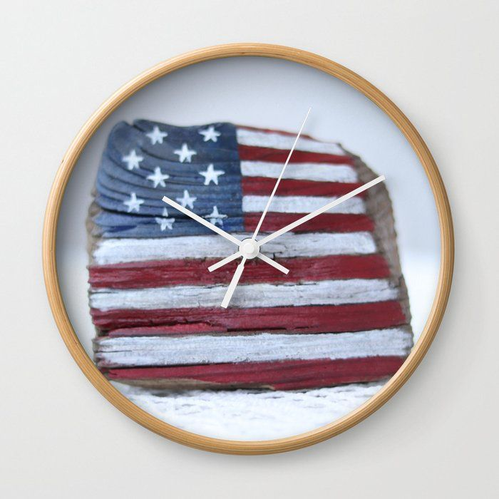 Good Times Rethink The Traditional Timepiece As Functional Wall Decor You Ll Love How Our Artists Are Converting Some In 2020 Wall Clock Vintage American Flag Clock