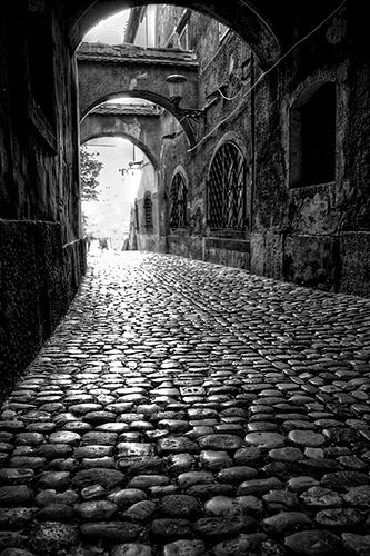 Cobblestone street through a quaint little village.  What could happen here?  What types of people would travel these streets?