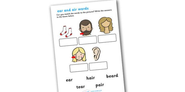 ear and air Sounds Matching Activity Worksheet ear air – Ear Worksheet