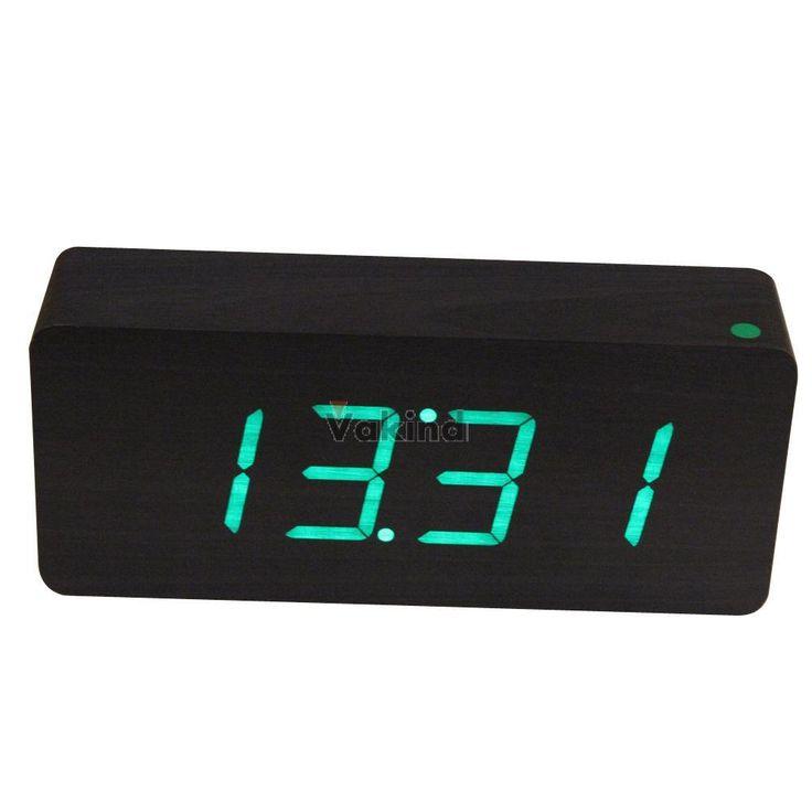 V1NF  Деревянные чёрные цифровые часы-будильник с зелёными светодиодами