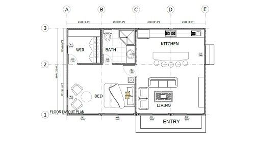 4 x 20ft single bedroom container home image containers for Shipping container garage floor plan