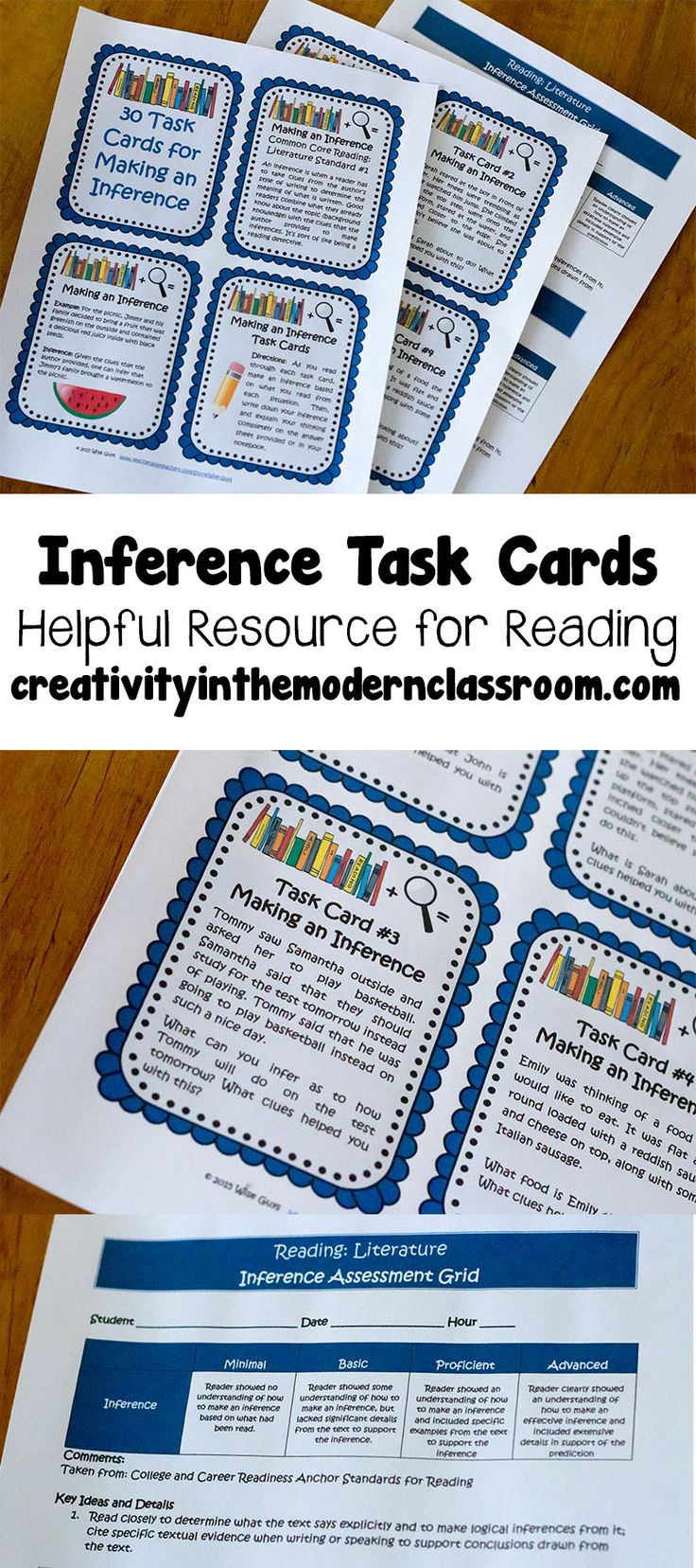 Included are 30 task cards to help your students with the reading skill of inference which is a big part of the CCSS. Each card has a situation in which the reader has to infer what is happening based on the context clues and his/her background knowledge. This is great practice for understanding inferences.