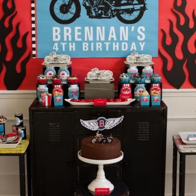 Motorcycle Birthday Party {themed party idea} @Heather Hayden