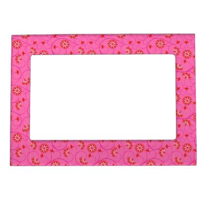 Elegant Abstract Flowers 8 Magnetic Frame - floral style flower flowers stylish diy personalize