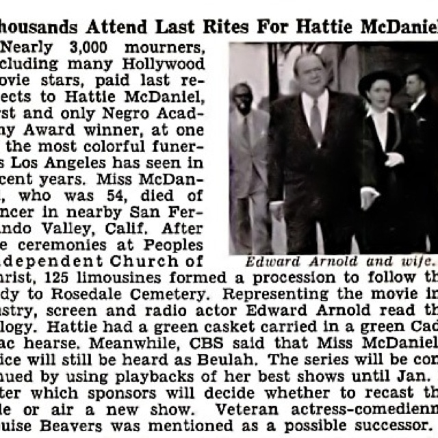 Newspaper article about Hattie McDaniel's funeral